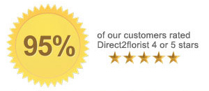 95% of customers sending flowers rated Direct2florist 4 or 5 stars